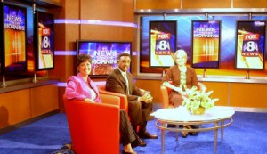 Kathy Dawson on the new Fox 8 set.